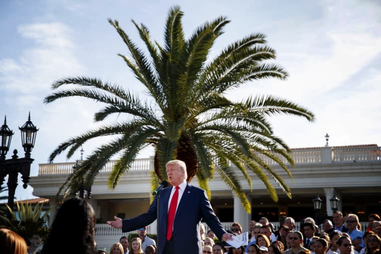 Image: Donald Trump speaks at a campaign event with employees at Trump National Doral in Fla., on Oct. 25, 2016.