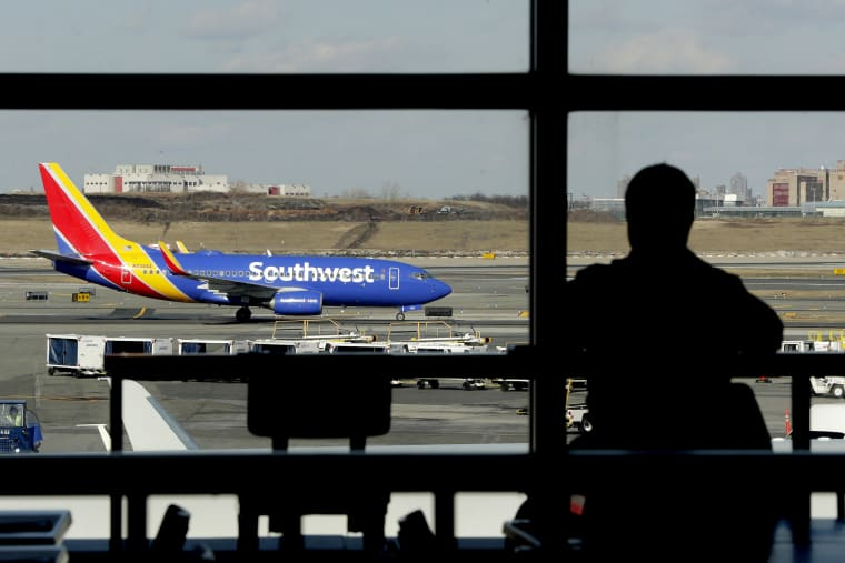 A Southwest Airlines jet moves on the runway at LaGuardia Airport
