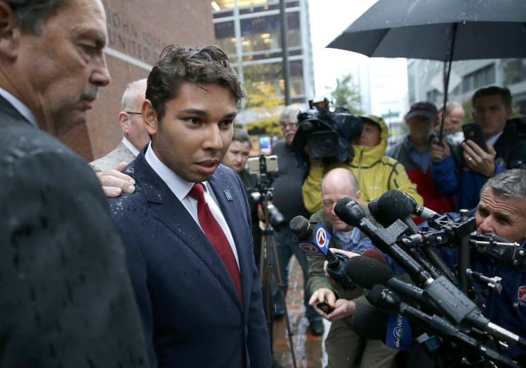 Fall River Mayor Jasiel Correia speaks to the media after leaving federal court, in Boston on Oct. 11, 2018.