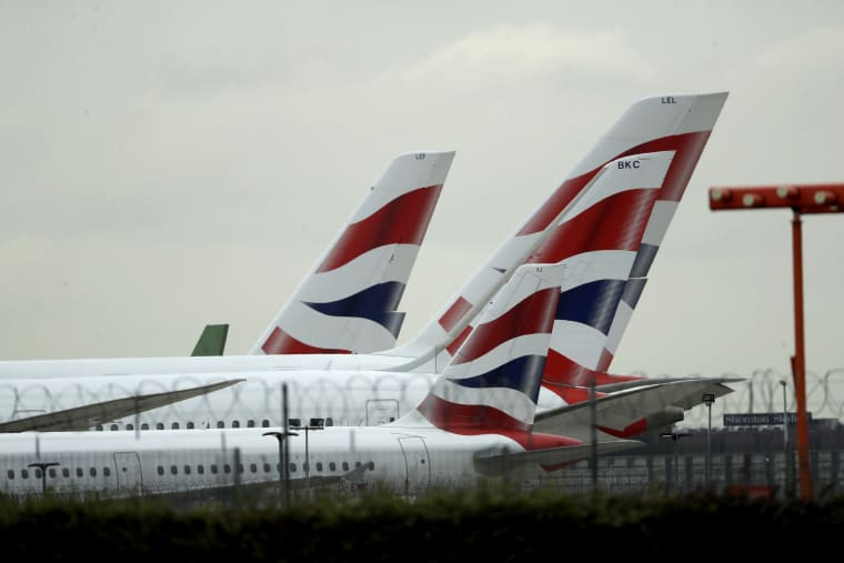 Image: British Airways planes sit at Heathrow Airport in London during a pilot strike on Sept. 9, 2019.
