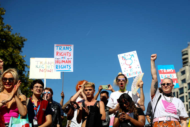 Image: People march in the first Trans Pride Parade in London on Sept. 14, 2019.