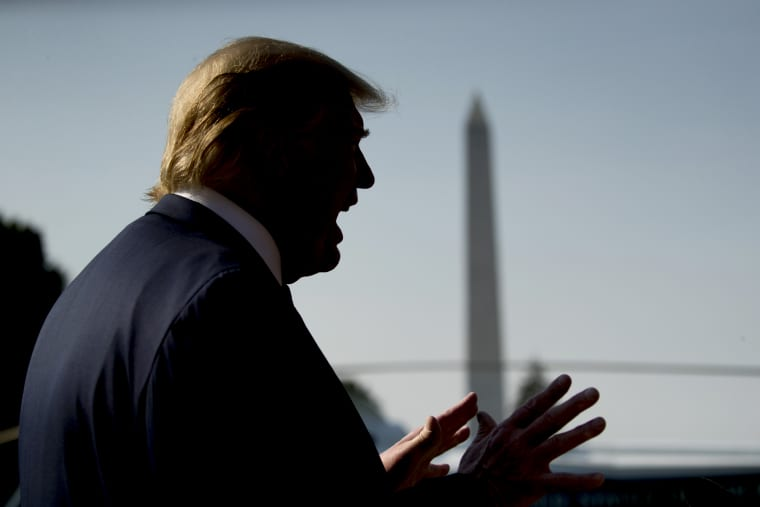Image: President Donald Trump speaks to the media before departing the White House on Aug. 7, 2019.