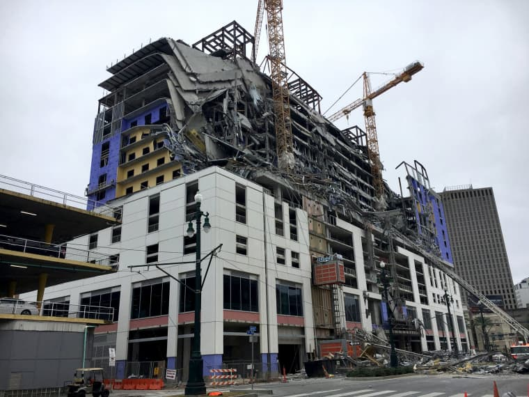 Image: A portion of the Hard Rock Hotel in New Orleans collapsed on Oct. 12, 2019.
