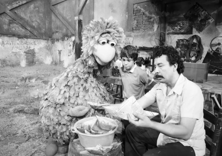 """Abelardo, Big Bird's cousin, on the set of Mexico's \""""Plaza S?samo,\"""" which debuted in 1973. It was one of dozens of Sesame Street productions that have run around the world."""