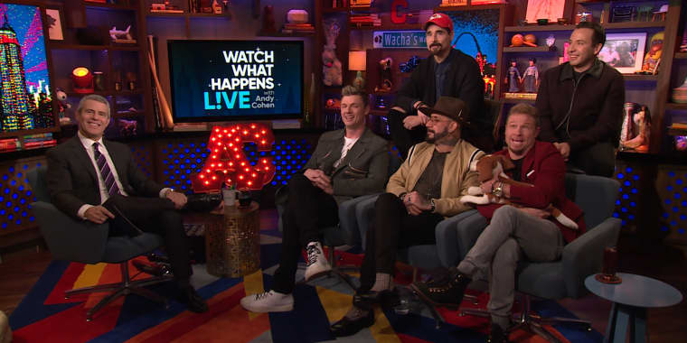 """The Backstreet Boys appeared on """"Watch What Happens Live"""" with Andy Cohen on Feb. 11."""