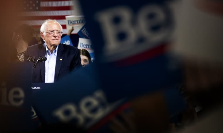 Image: Sen. Bernie Sanders speaks at a Super Tuesday rally in Essex Junction, Vt., on March 3, 2020.