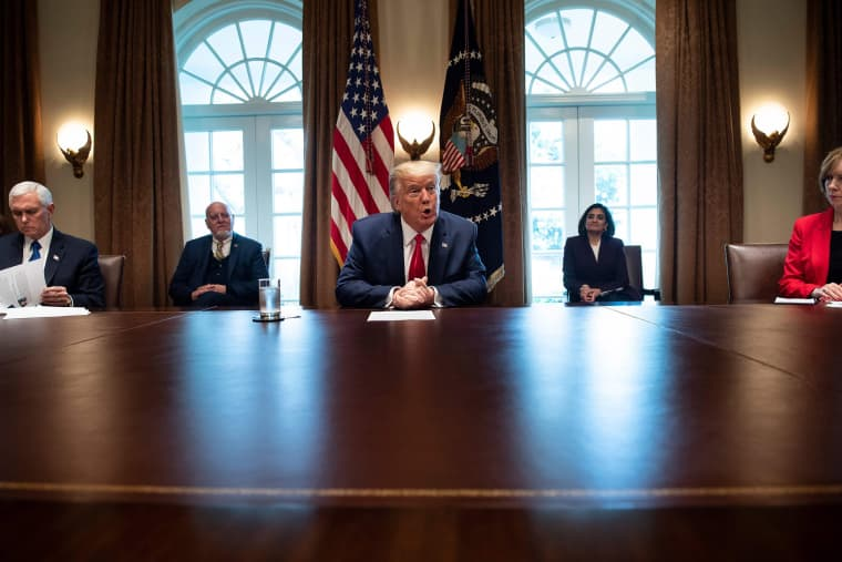 Image: President Donald Trump speaks to the press after a meeting with nursing industry representatives in the Roosevelt Room of the White House