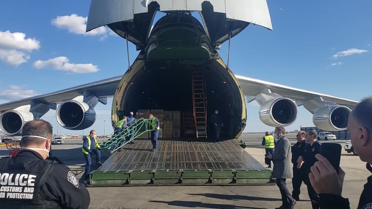 Russian plane carrying medical equipment lands in New York City