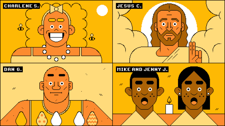 Illustration of Zoom meeting between Jesus and three other groups of shocked and excited people.