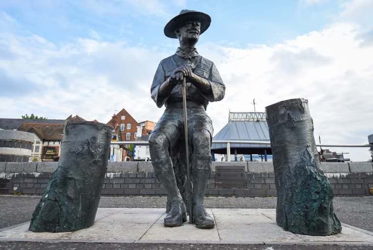 Image: The Lord Baden-Powell statue on June 11, 2020 in Poole, United Kingdom.