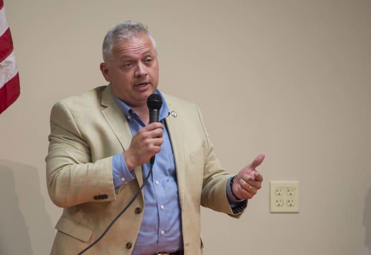 Denver Riggleman speaks in Lynchburg, Va., in 2018.