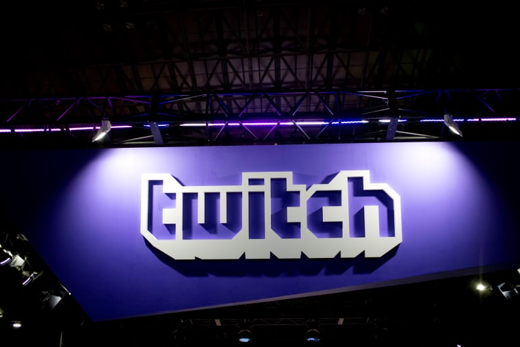 Image: A Twitch logo at the Tokyo Game Show in 2018.
