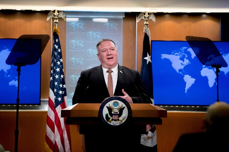 Image: Secretary of State Mike Pompeo speaks during a news conference at the State Department in Washington
