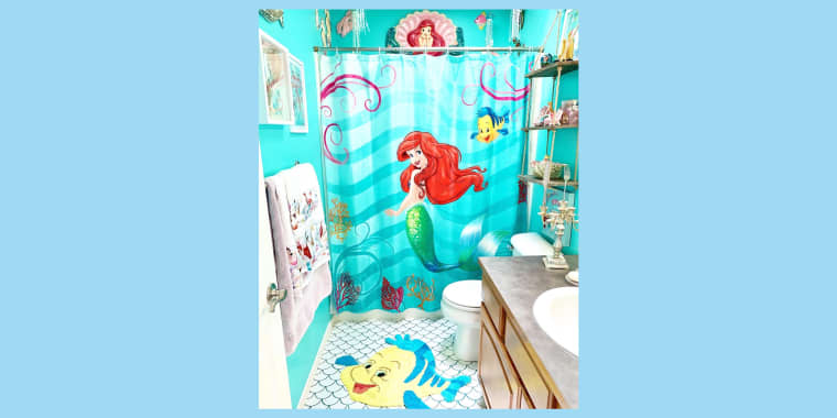"""This bathroom in Kelsey Hermanson's home is inspired by her favorite Disney character: Ariel from """"The Little Mermaid."""""""