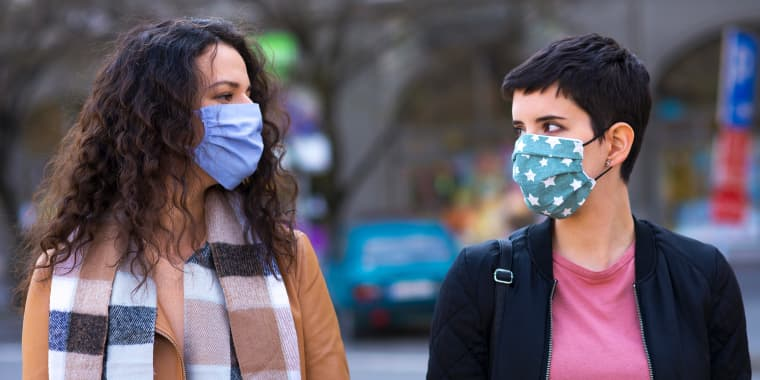 Women wearing cloth face masks outside in autumn