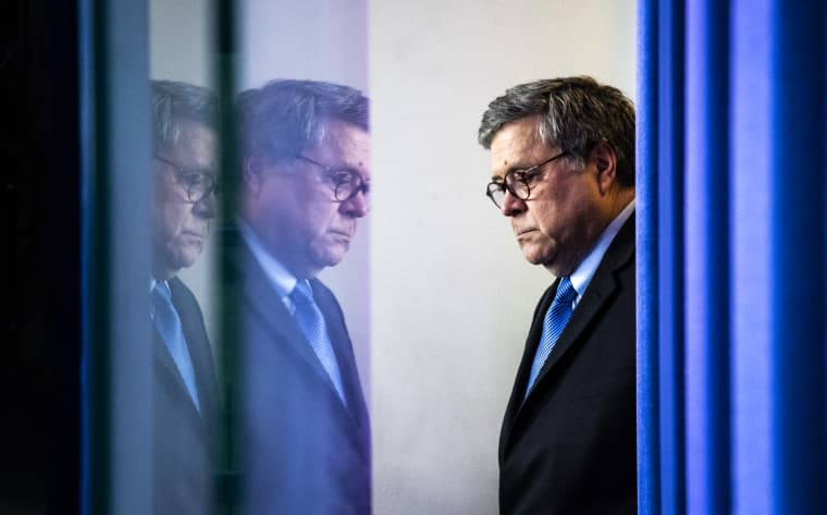 Image: Attorney General William Barr arrives for a news conference at the White House on April 1, 2020.