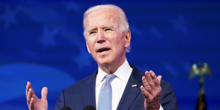 President-elect Joe Biden speaks in Wilmington, Del., on Jan. 6, 2021.