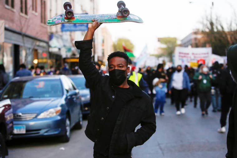 Image: Protest in the aftermath of the death of 13-year-old-boy Adam Toledo, in Chicago