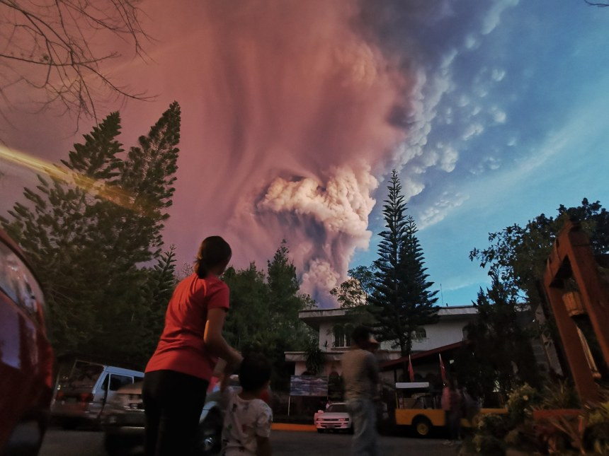 Image: Taal Volcano in the central island of Luzon is the Philippines second most active volcano boomed to life on Sunday, spilling volcanic ash.