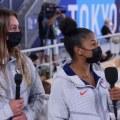 US gymnasts Grace McCallum and Jordan Chiles talk about Suni Lee and Jade Carey