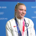 Jade Carey talks about winning gold medal in floor exercise