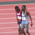 US runner finishes race arm in arm with competitor who accidentally tripped him