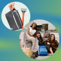 Images of the new Away collaboration with fashion designers, the new Bliss retinol, a sweater from the thermal wear collection and a hand holding a Harry's travel kit