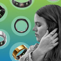 Illustration of the Oura Ring in different colors and a Woman wearing the ring on her finger