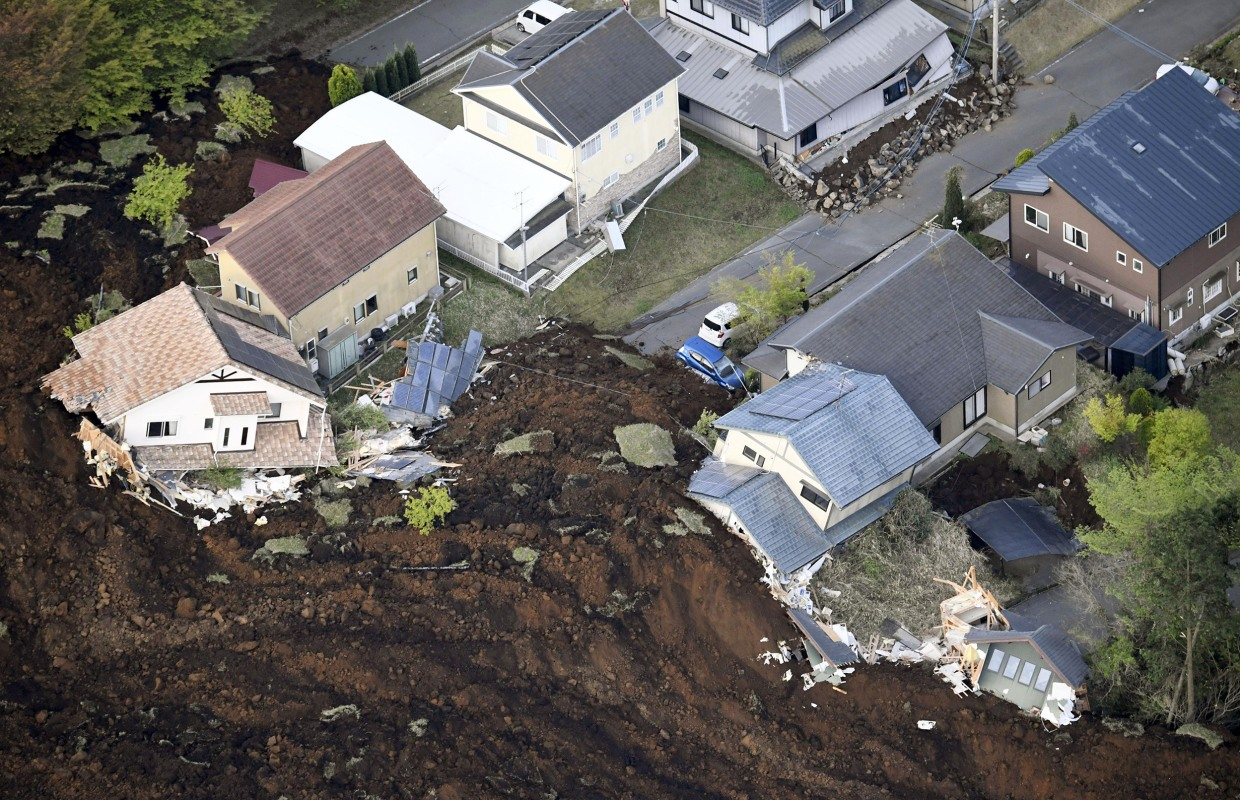 Stronger Japan Earthquake Triggers Landslides and Collapses Homes