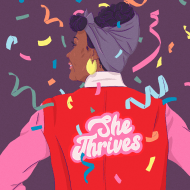 "Illustration of woman wearing a jacket with ""She Thrives"" embroidered on the back."