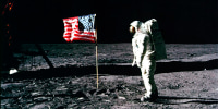 Image: Astronaut Buzz Aldrin salutes the American flag on the surface of the moon during the Apollo 11 space mission on July 20, 1969.