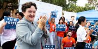 Image: Katie Porter speaks to supporters at the University of California, Irvine, at an early voting event on Oct. 30, 2019.