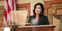 South Dakota Gov. Kristi Noem addresses the Legislature, Tuesday, Feb. 9, 2021, at the Capitol in Pierre, S.D.