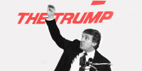 """Image: Young Donald Trump speaking at a podium. Text behind him partially reads, \""""The Trump\"""""""