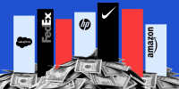 Photo illustration of graphs with corporate logos sitting over heaps of money. Logos of Salesforce, FedEx, HP, Nike and Amazon.