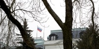 Image: FILE PHOTO: A national flag of Russia flies on the Russian embassy in Prague