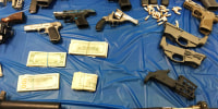 Ghost guns that were seized from a couple involved in a drug and gun trafficking scheme in Northampton, Pa.