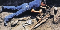 Image: The skeleton was discovered in Herculaneum back in the 1980's