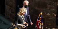 President Joe Biden and Jill Biden leave after attending church, before the last day of the G7 summit, in St. Ives, Britain, on June 13, 2021.