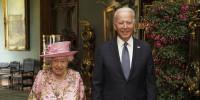 Image: Queen Elizabeth II with President Joe Biden in the Grand Corridor during their visit to Windsor Castle