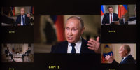 Russia's President Vladimir Putin speaks with NBC News' Keir Simmons in Moscow on June 11, 2021.