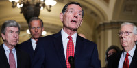 Image: Senator John Barrasso, R-Wy., talks to reporters following the Senate Republicans weekly policy lunch at the U.S. Capitol on June 15, 2021.