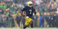 Notre Dame Fighting Irish quarterback Brandon Wimbush rushes for a 50-yard touchdown against the Wake Forest Demon Deacons on Nov. 04, 2017, in South Bend, Ind.