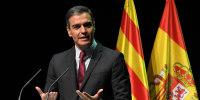 Image: Spain's prime minister Pedro Sanchez delivers his speech at the Gran Teatre del Liceu in Barcelona,