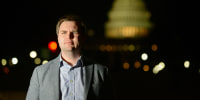 """J.D. Vance, author of \""""Hillbilly Elegy,\"""" poses near the Capitol in 2017."""