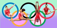 Illustration of gymnast competing on olympic rings