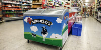 Image: A refrigerator bearing the Ben & Jerry's logo is seen at a food store in the Jewish settlement of Efrat in the Israeli-occupied West Bank