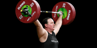 Laurel Hubbard competes in weightlifting in 2018.