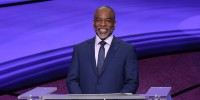"""Image: \""""Jeopardy!\"""" guest host LeVar Burton on the set of the game show."""