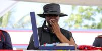 Martine Moise grieves during the funeral for her husband, slain Haitian President Jovenel Moise, on July 23, 2021, in Cap-Haitien, Haiti.